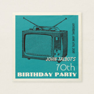 Vintage TV 70th Birthday Party Paper Napkin