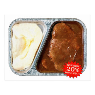 Vintage TV Dinner Salisbury Steak Now More Meat Postcard