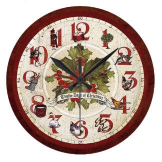 Vintage Twelve Days of Christmas Large Clock