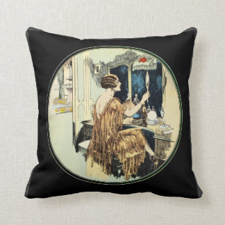 Vintage Twenties Lady at her Dressing Table Throw Pillow