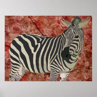 Vintage Twinkle Zebra Art Poster