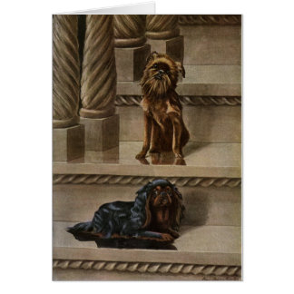 Vintage - Two Dogs on a Staircase, Card