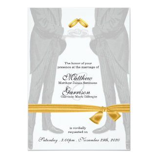 "Vintage Two Grooms Gay Wedding 5"" X 7"" Invitation Card"