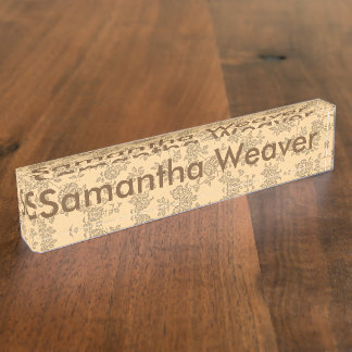 Vintage Two Tone Brown and Cream Floral Pattern Desk Name Plate