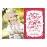 Vintage Type Holiday Photo Card - Red