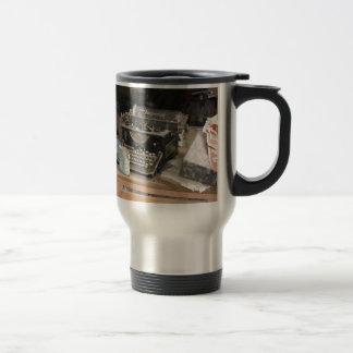 Vintage Type writer in dusty office workshop Travel Mug
