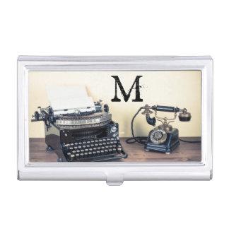 Vintage Type Writer Monogram Business Card Hold Business Card Holder