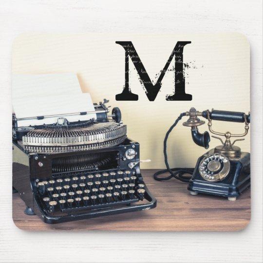Vintage Type Writer Monogram Initial Mouse Pad