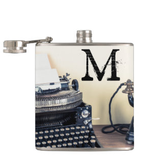 Vintage Type Writer Retro Monogram Whiskey Flask