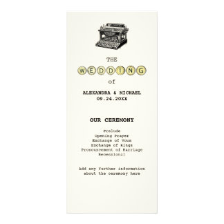 Vintage Typewriter and Keys Wedding Program Full Color Rack Card