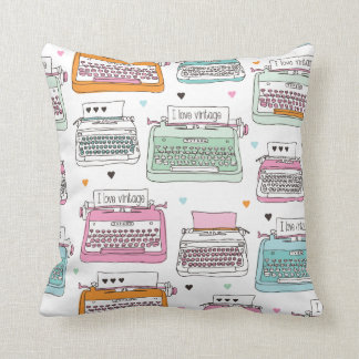 Vintage typewriter art pillow