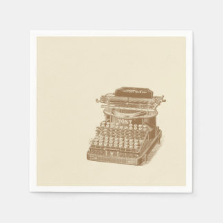 Vintage Typewriter Brown Type Writting Machine Paper Napkins