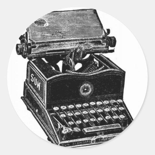 VINTAGE TYPEWRITER CLASSIC ROUND STICKER
