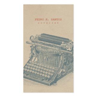 Vintage Typewriter Cool Blue Retro Modern Simple Business Card Templates