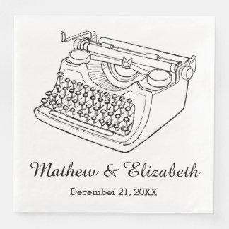 Vintage Typewriter Custom Wedding Disposable Napkins