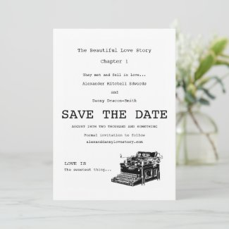 Vintage Typewriter Gay Save The Date