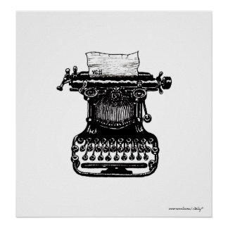 Vintage typewriter graphic art poster