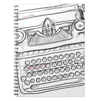 Vintage Typewriter, Hand Drawn, Gifts for Writers Spiral Notebook
