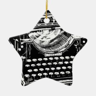 Vintage Typewriter Illustration Ceramic Ornament