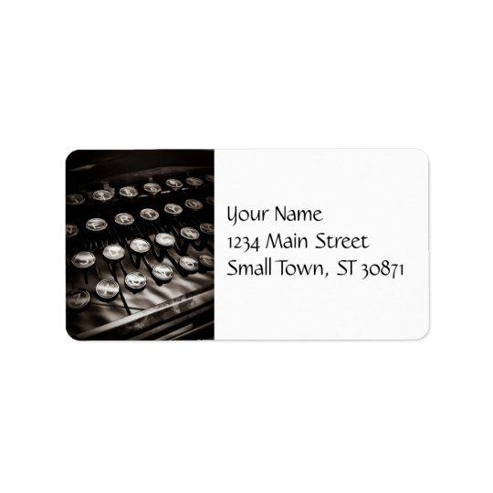 Vintage Typewriter Keys in Black and White Label