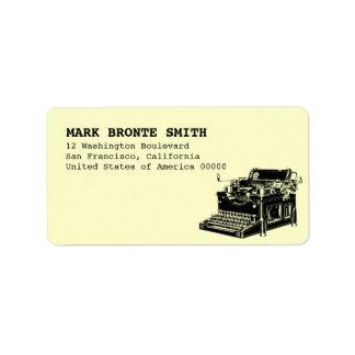Vintage Typewriter Label Address