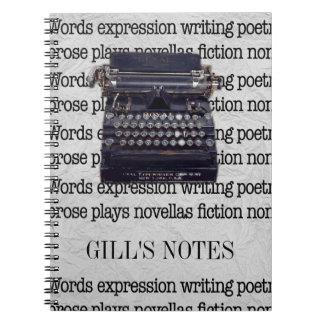 Vintage Typewriter Note Books