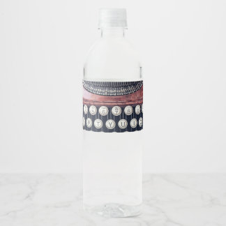 Vintage Typewriter Water Bottle Label
