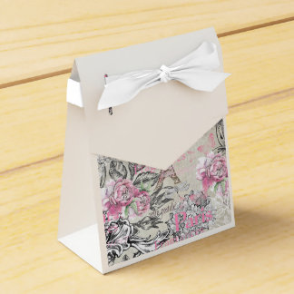 Vintage typo black pink floral Paris Eiffel Tower Favor Box