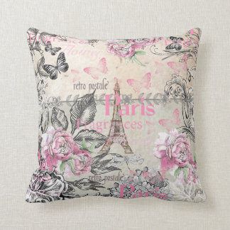 Vintage typo black pink floral Paris Eiffel Tower Throw Pillow