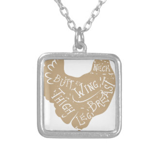 Vintage typographic chicken butcher cuts diagram silver plated necklace