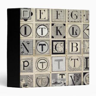 Vintage Typographical Letters 3 Ring Binder
