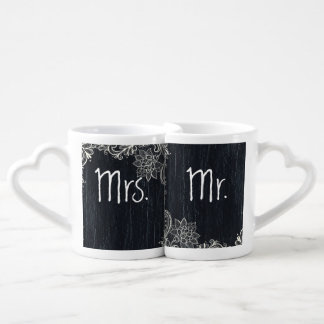vintage typography  Chalkboard mr and mrs Coffee Mug Set