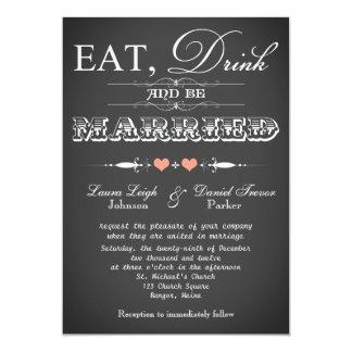 "Vintage Typography Chalkboard Wedding Invite 6 5"" X 7"" Invitation Card"