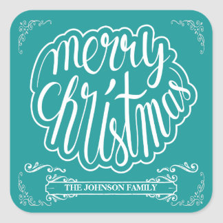 Vintage Typography Christmas Square Sticker