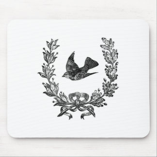 vintage typography design dove & wreath bird mouse pad