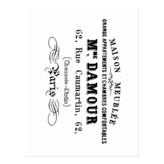 Vintage typography design M'Damour Postcard