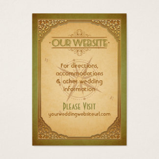 Vintage Typography Gold Green Compass Website Card