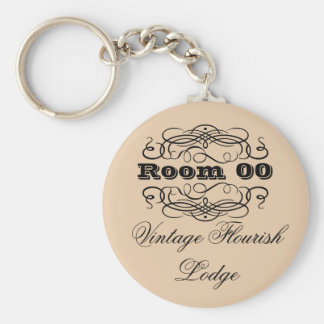 Vintage typography hotel room brown keychain