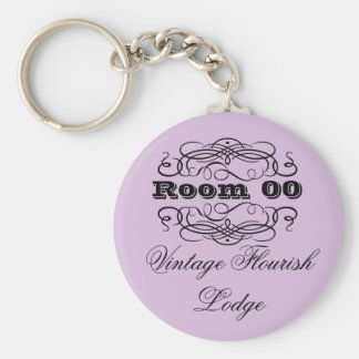 Vintage typography hotel room purple keychain