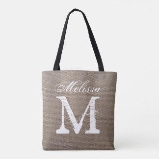 Vintage typography monogram burlap style wedding tote bag