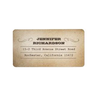 vintage typography old address labels