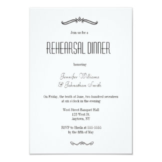 Vintage typography rehearsal dinner invitations