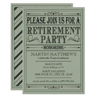 Vintage Typography, Retirement Party Invitations