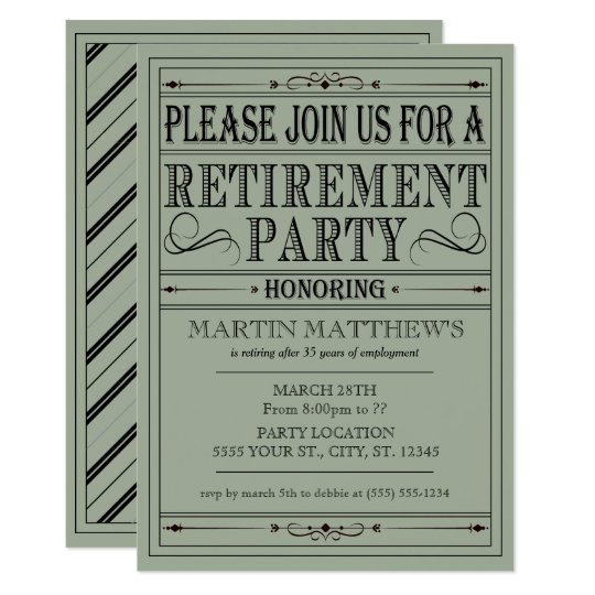 Vintage Typography, Retirement Party Invitations