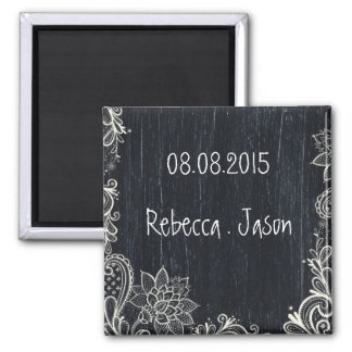 Vintage Typography rustic chalkboard save the date Magnet