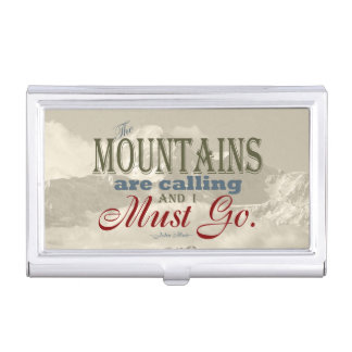 Vintage Typography The mountains are calling; Muir Case For Business Cards
