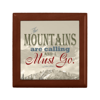 Vintage Typography The mountains are calling; Muir Gift Box
