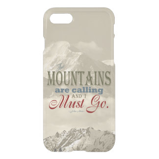 Vintage Typography The mountains are calling; Muir iPhone 7 Case