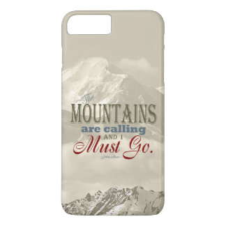 Vintage Typography The mountains are calling; Muir iPhone 7 Plus Case