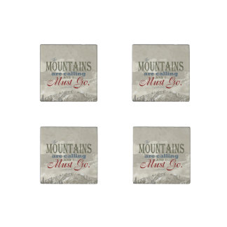 Vintage Typography The mountains are calling; Muir Stone Magnets